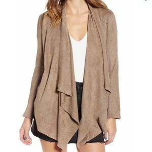 BlankNYC Faux Suede Draped Open Front Jacket